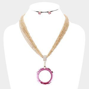 Open Circle Pink Multi Strand Chain Necklace Set